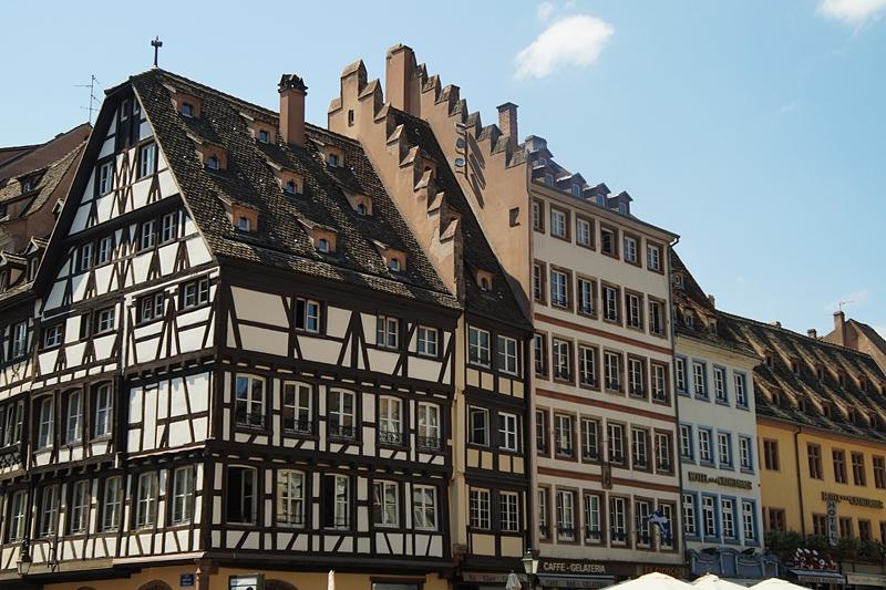 Fachwerkhäuser Architektur in Strasbourg. Elsass, Frankreich. Interrail-Reise Europa Sommer 2017