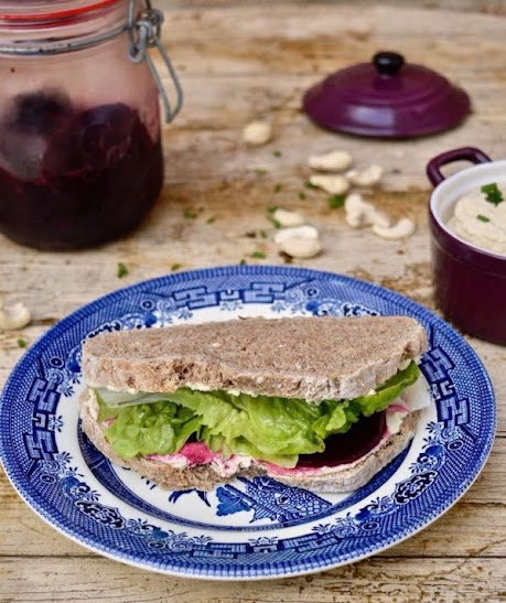 Vegan Cream Cheese, Spiced Pickled Beetroot & Lettuce Sandwich