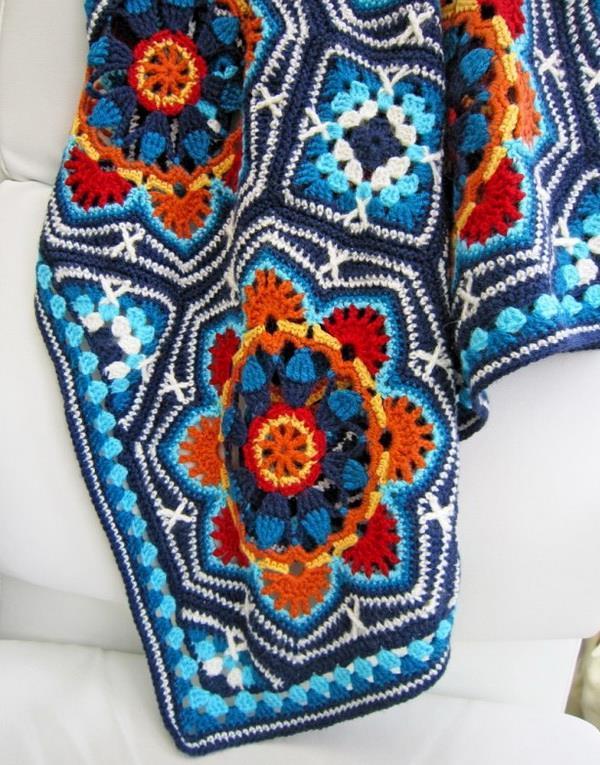 Crochet blanket, Persian Tile, Octagon crochet motif