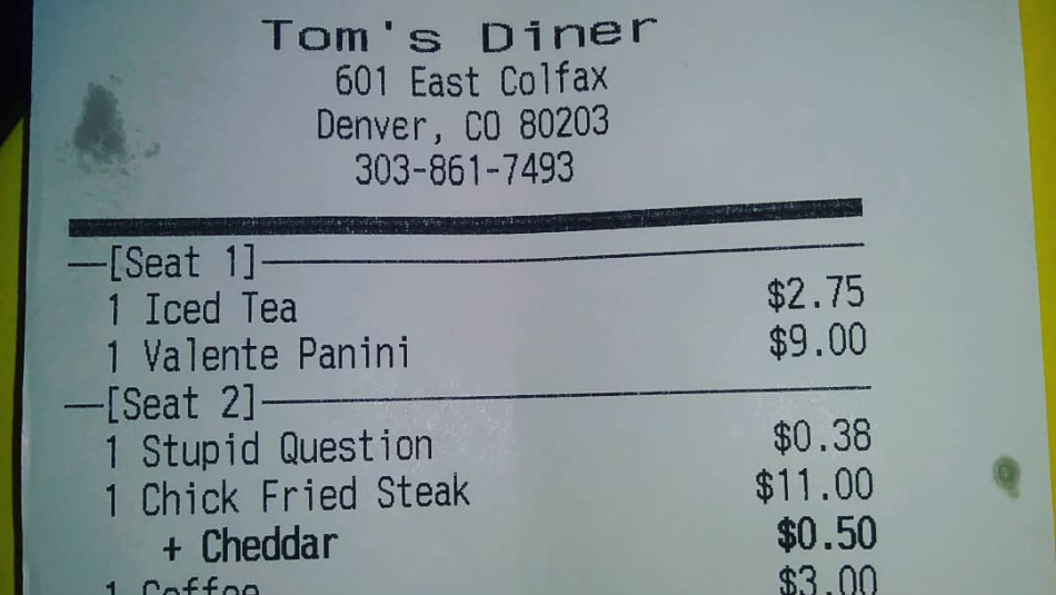 Toms Diner, Stupid Question