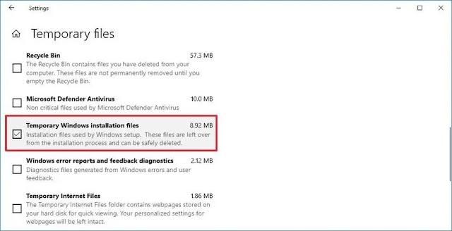 الملفات المؤقتة Temporary Windows installation files