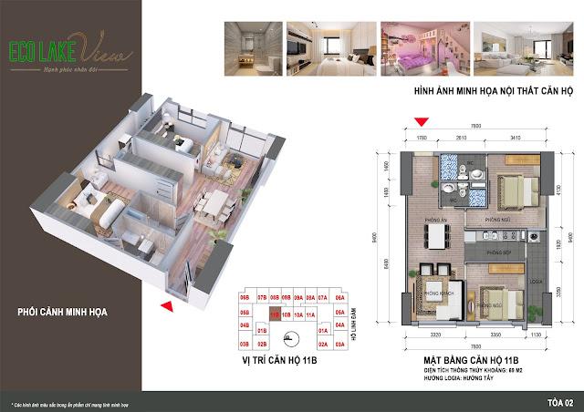 Thiết kế căn hộ 11B tòa HH2 chung cư ECO LAKE VIEW