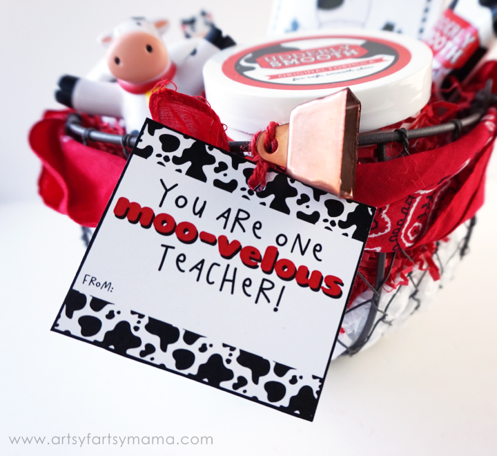 Udderly Smooth Gift Basket for a Moo-velous Teacher at artsyfartsymama.com