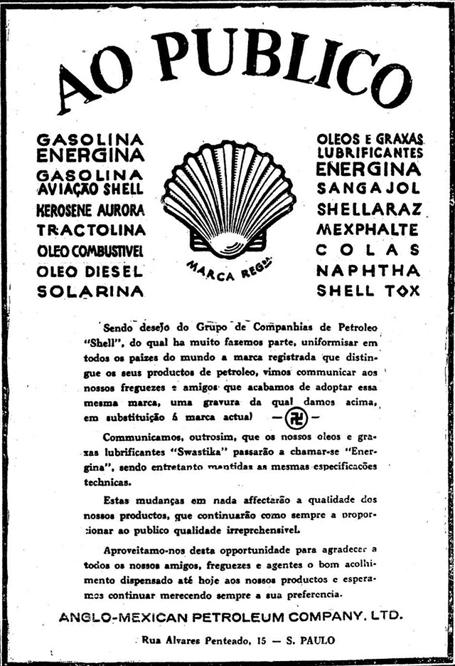 Propaganda antiga da Shell para anunciar o fim do uso da suástica como marca da empresa, em 1933