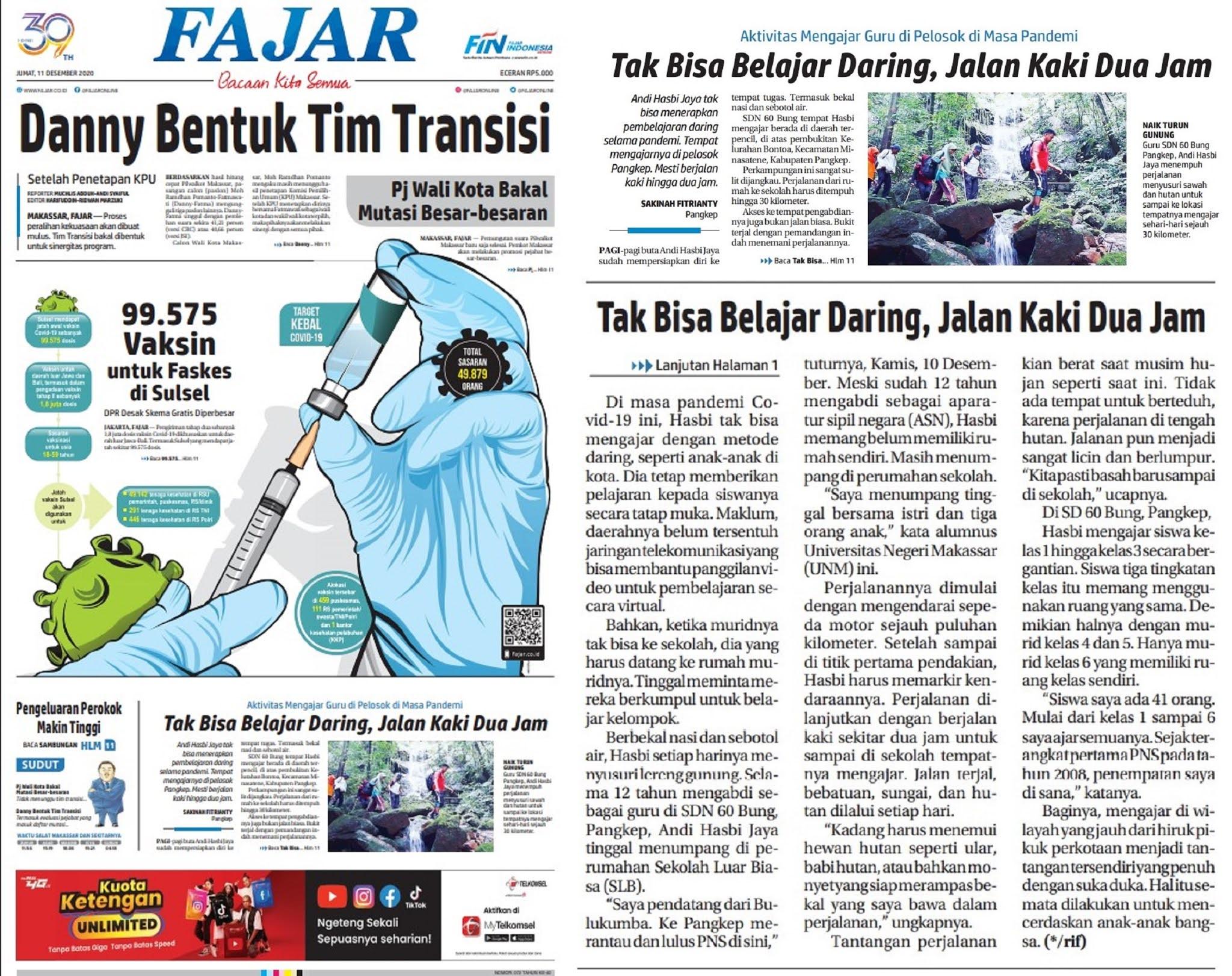 Terbit di Koran Fajar Edisi Jumat 11/12/2020 oleh : SAKINAH FITRIANTY Pangkep