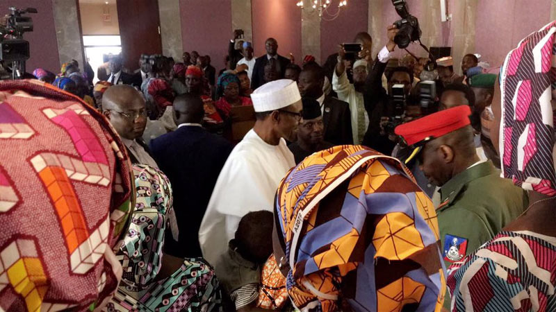 Photos: President Buhari receives 21 Chibok girls in Abuja