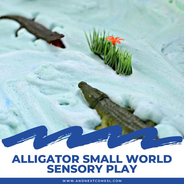 Alligator small world sensory play