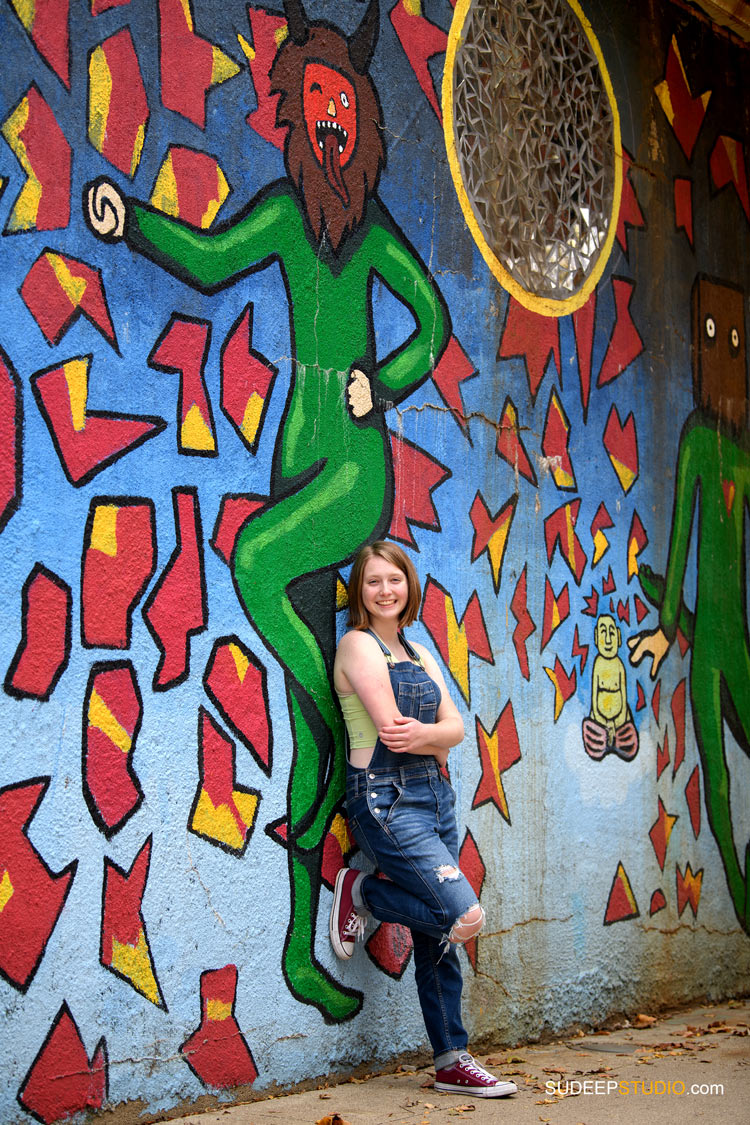 Ann Arbor Senior Pictures for Girls Skyline School in Urban Graffiti Ann Arbor Senior Portrait Photographer