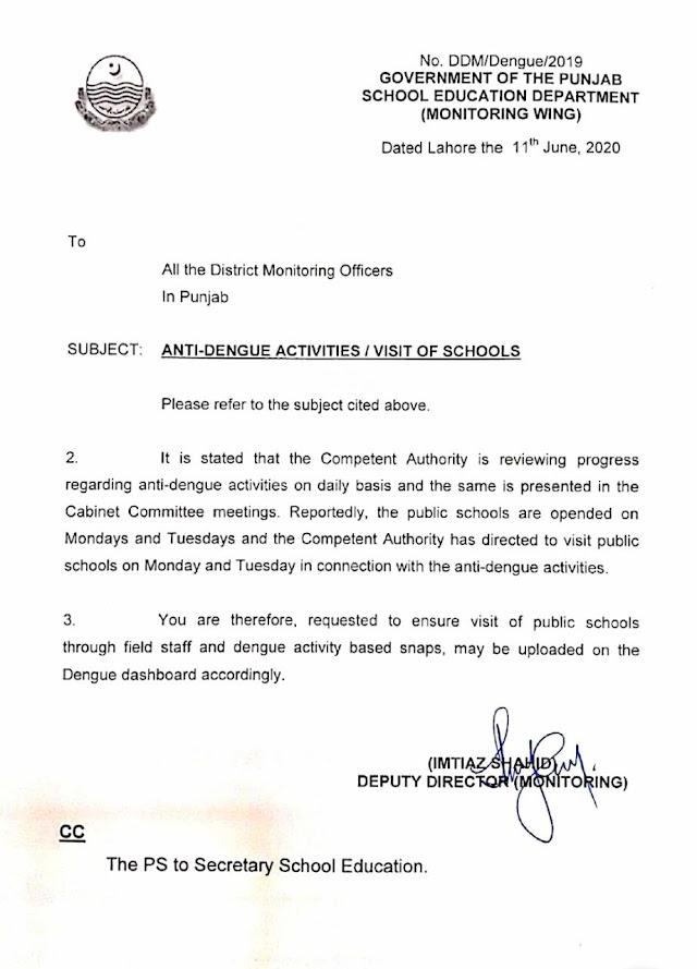 MONITORING OF ANTI DENGUE ACTIVITIES IN SCHOOLS