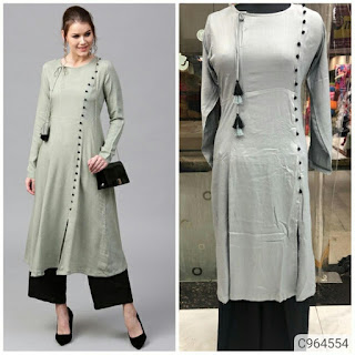 Gorgeous Pure Rayon Cotton Solid With Potali Button Kurti Set