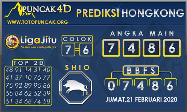 PREDIKSI TOGEL HONGKONG PUNCAK4D 21 FEBRUARI 2020