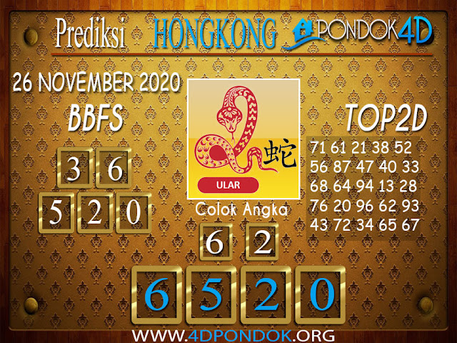 Prediksi Togel HONGKONG PONDOK4D 26 NOVEMBER 2020