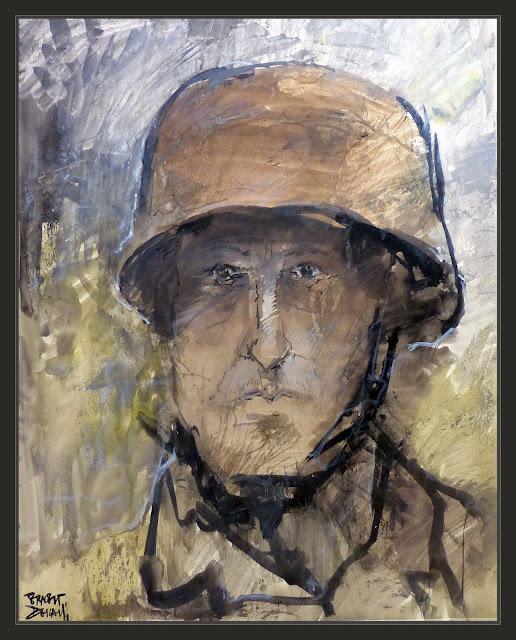 SOLDADO-ALEMAN-ARTE-PINTURA-PARACAIDISTAS-SEGUNDA GUERRA MUNDIAL-EXPRESIONES-CASCOS-Fallschirmjager-GERMAN SOLDIER-WWII-ART-PINTOR-ERNEST DESCALS