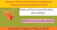 Haryana Women & Child Development Department Recruitment 2018 – 28 Social Worker, Accountant