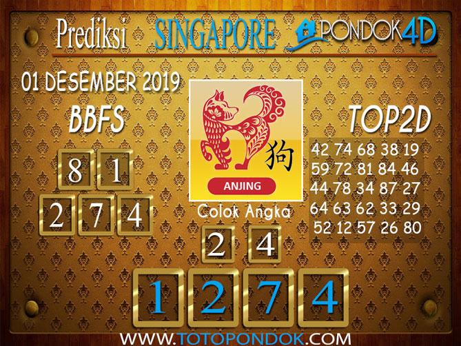 Prediksi Togel SINGAPORE PONDOK4D 01 DESEMBER 2019