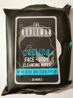 An unopened package of The Nobelman Cooling Face and Body Cleansing Wipes