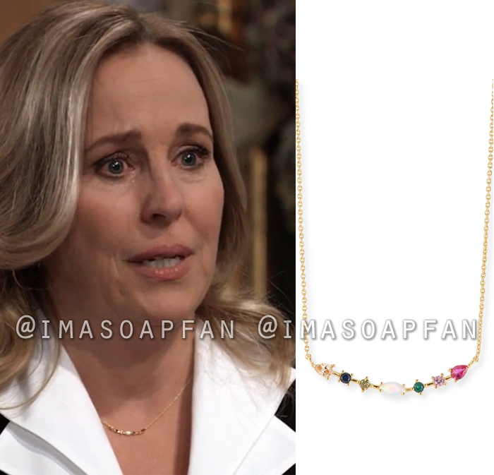 Laura Collins, Genie Francis, Multicolored Stone Bar Necklace, General Hospital, GH