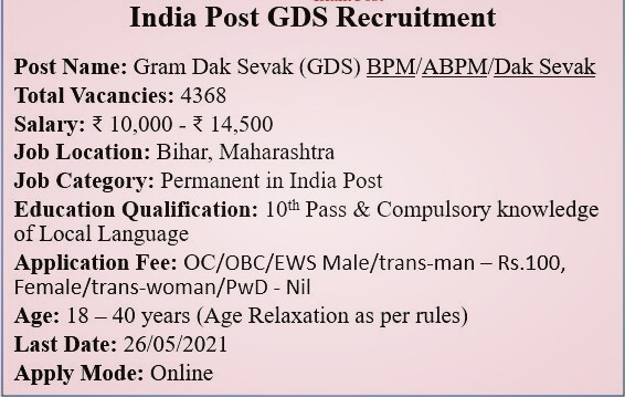 India Post Recruitment 2021: 4368 GDS पदों की Last Date बढ़ाई गई