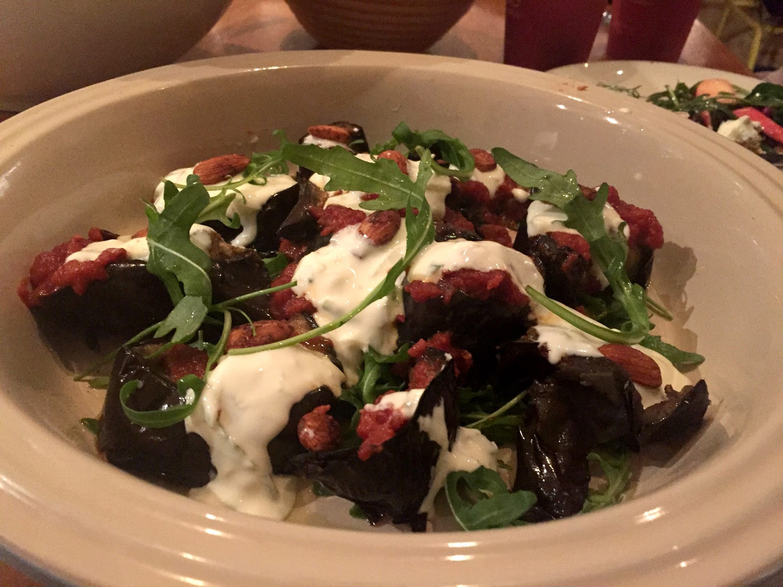 aubergine with tomato and yoghurt