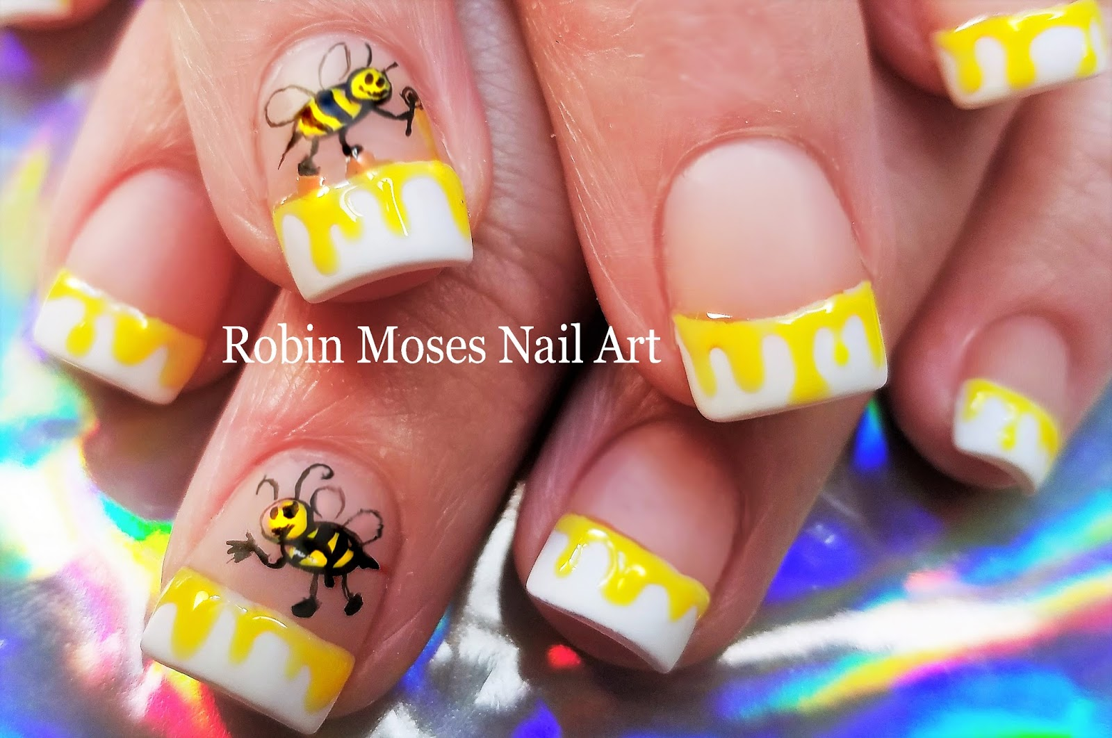 Nail Art By Robin Moses Cute Spring Honey Bee Nails 2018