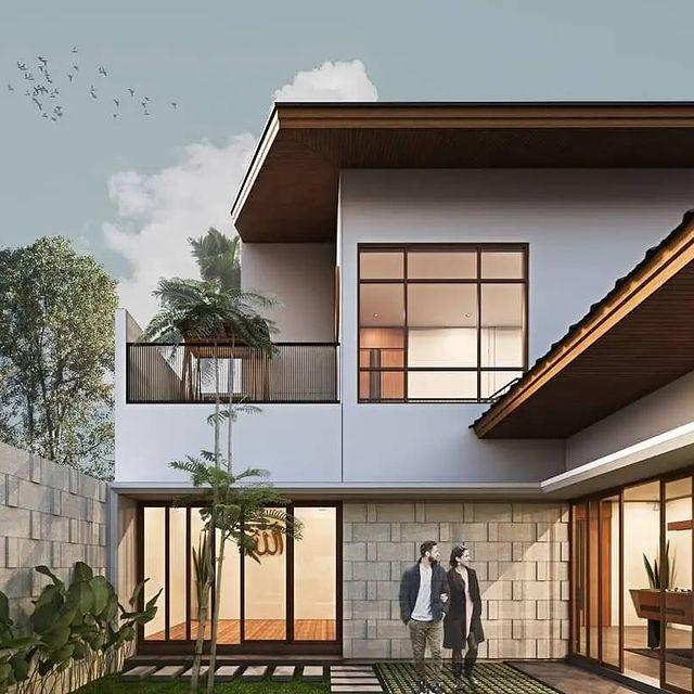 desain rumah pintu tengah