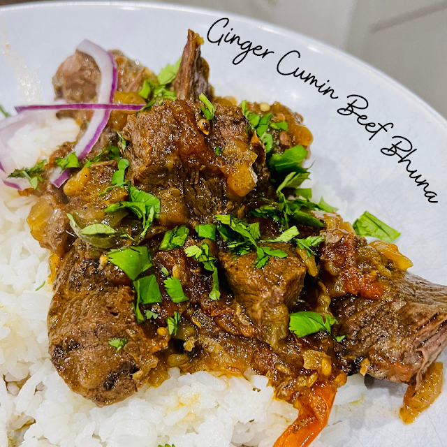 Beef Bhuna in a bowl over basmati rice