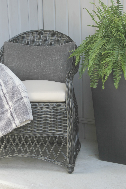 Gorgeous wicker Davies chair (Decor Market) on front porch - Hello Lovely Studio