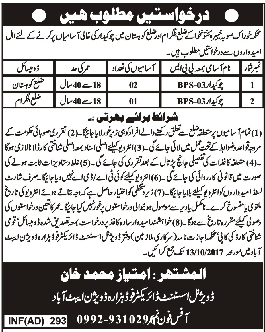 Jobs In Food Department Khyber Pakhtunkhwa