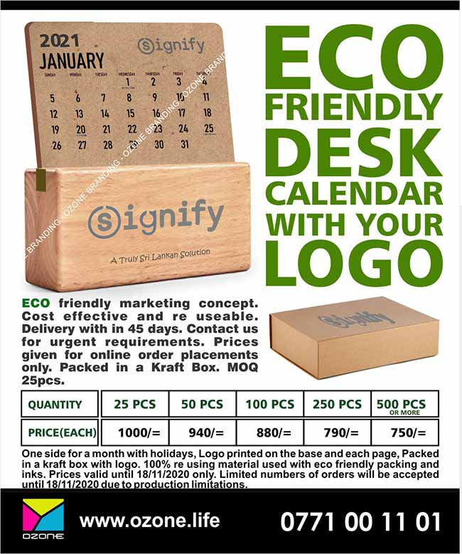 Eco Friendly Wooden Desk Calendars with your Logo
