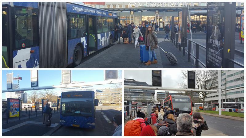 parada bus 400 frente a la estación de tren de Eindhoven