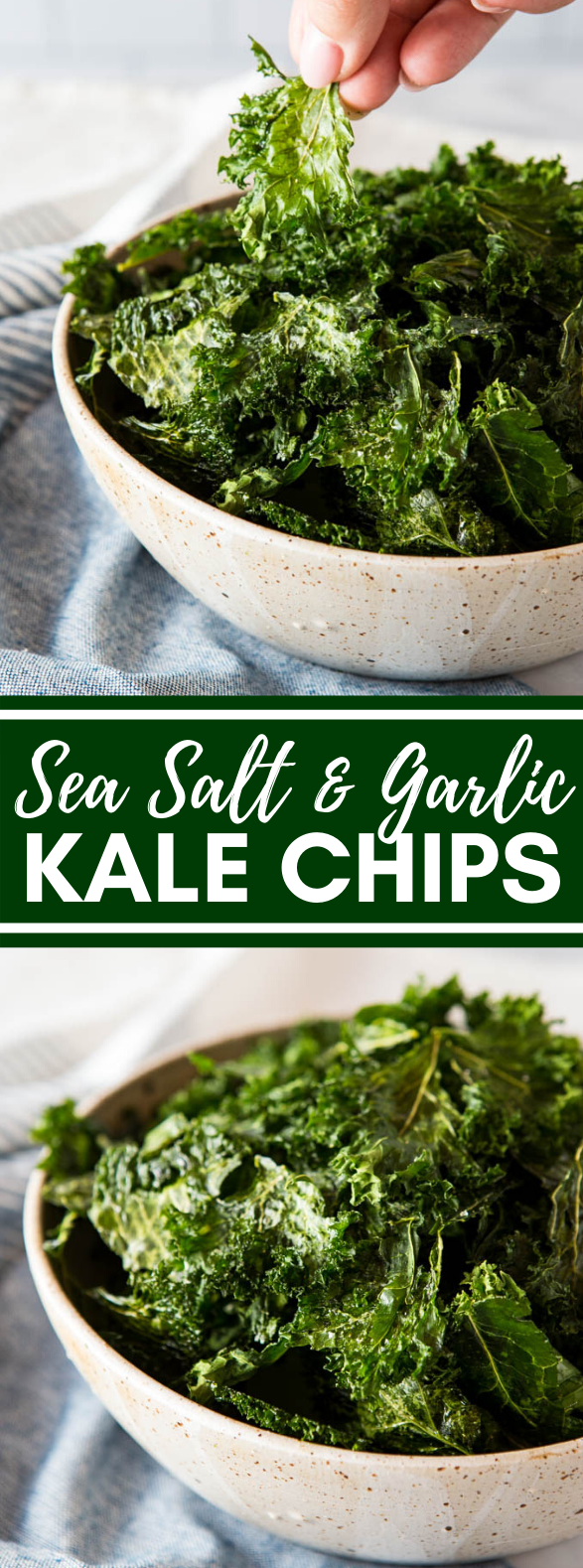 NO FAIL SEA SALT AND GARLIC KALE CHIPS #healthysnack #vegetarian
