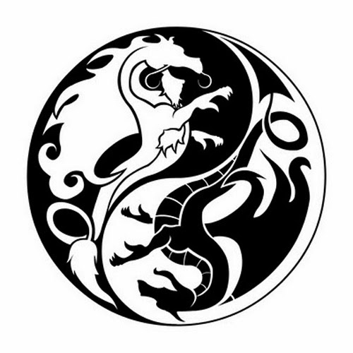 Yin Yang dragons tattoo stencil