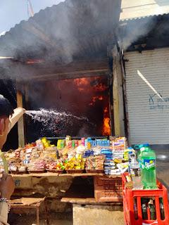 किराना दुकान में लगी आग