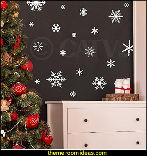 snowflakes wall decals  Christmas bedroom decor - winter decorating ideas - winter wonderland decorating - Christmas Stockings Holiday decor Santa Claus - decorating for Christmas