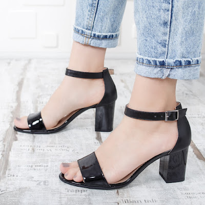 Sandale femei piele naturala lacuite negre cu toc gros