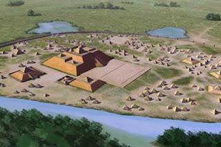 Concezione artistica del sito di Etowah (9 BR 1), un sito archeologico di cultura mississippiana situato sulle rive del fiume Etowah nella contea di Bartow, Georgia. Costruito e occupato in tre fasi, dal 1000-1550 d.C.