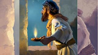 Imagem bíblica Habacuque olhando pela janela