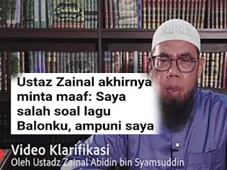 Ustaz Zainal Abidin Minta Maaf
