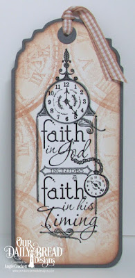 ODBD Custom Vintage Labels Dies, ODBD His Timing, ODBD Time, Bookmark Created by Angie Crockett