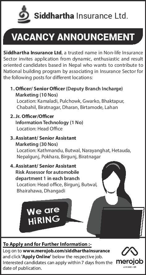 Vacancy Announcement from Siddhartha Insurance