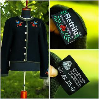 ASTRIFA-100% lână virgină-Cardigan vintage ,măr.M,.....60 Ron
