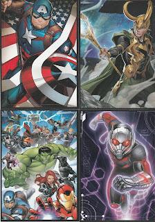 Marvel Avengers stickers #1 (Captain America), 6 (Avengers Assemble), 7 (Loki) and 11 (Ant-Man)