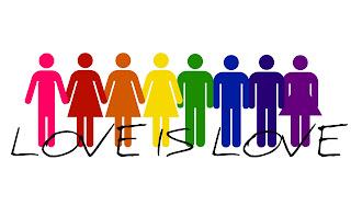 Pittogrammi maschili e femminili colorati che si tengono per mano