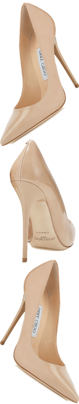 Jimmy Choo Anouk Nude Patent Pointy Pump
