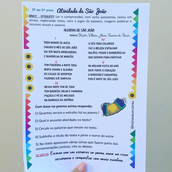 Atividade junina com interpretação de poema para alunos do 3º ao 5º anos