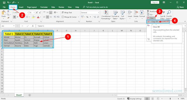 Cara Menghapus Format Tabel di Excel