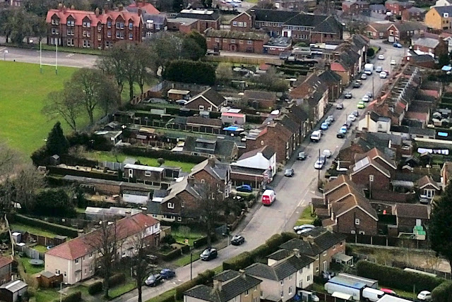 A view of Glebe Road, Brigg, from the air by Neil Stapleton - supplied to Nigel Fisher's Brigg Blog
