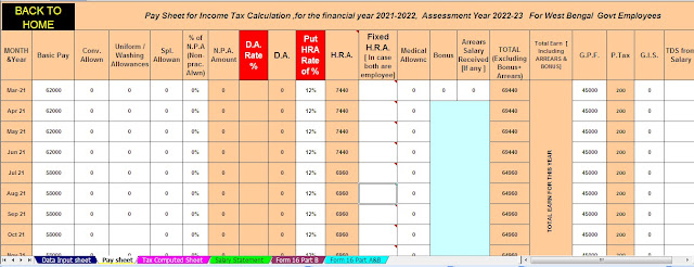 Tax Savings with Fixed Deposit including Salary Structure of the W.B.Govt Employees