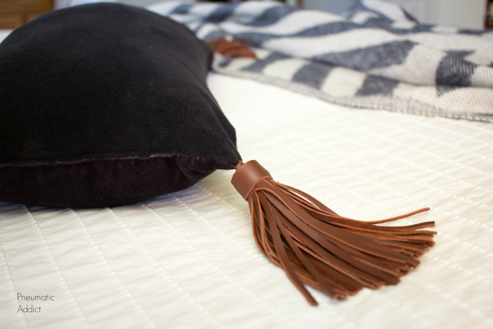 DIY Leather Tassel Pillow - The Kim Six Fix