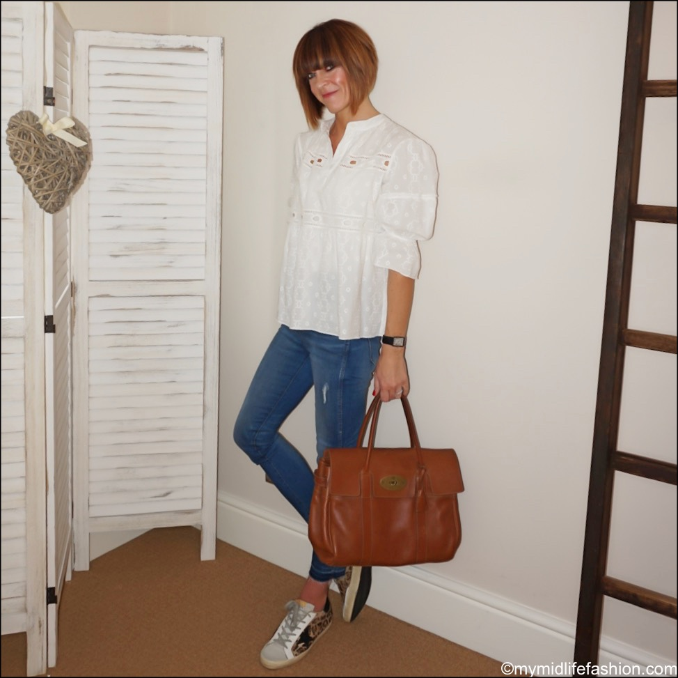 my midlife fashion, fracaomina jeans broderie anglaise blouse, mulberry bayswater, golden goose superstar low top leather trainers, j crew Point Sur straight leg jeans